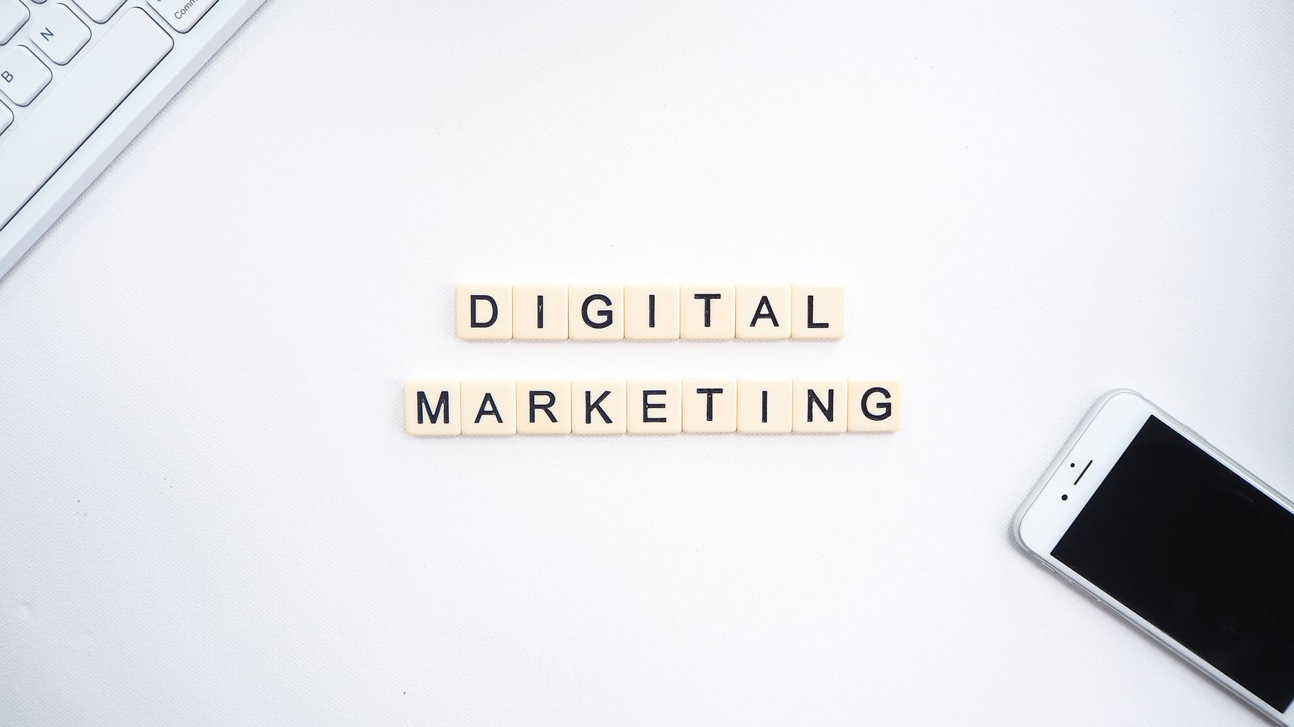 Digital Marketing spelled with blocks